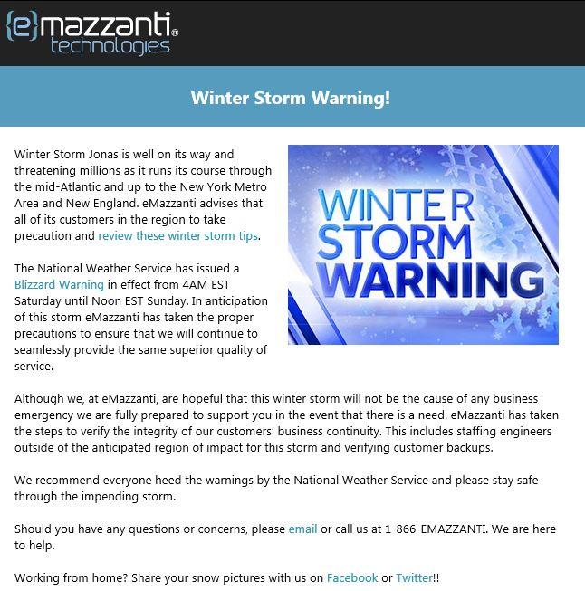 eMazzanti Winter Storm Warning
